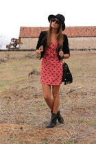 coral blondie store dress - black Zara boots - black Lefties hat