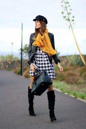 Zara boots - Primark dress - Choies hat - Zara jacket - natura scarf