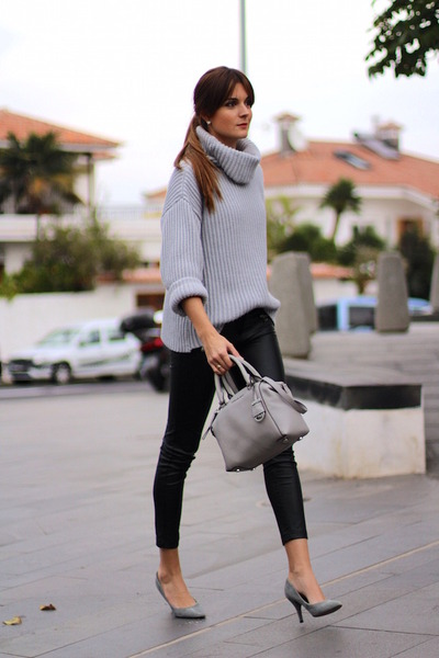 Michael Kors bag - Sheinside sweater - Stradivarius panties - Mango heels