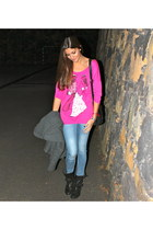 hot pink Mango t-shirt - black Zara boots - charcoal gray Zara coat