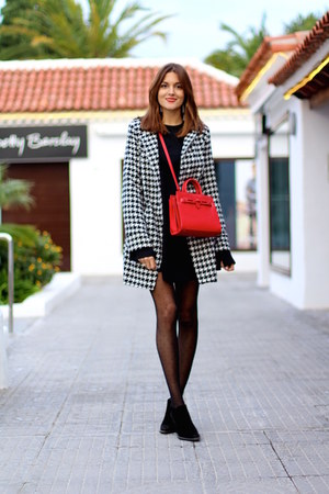 shein coat - Zara dress - Mango bag