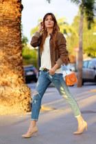 Mango jeans - Zara jacket - suiteblanco heels - Mango t-shirt