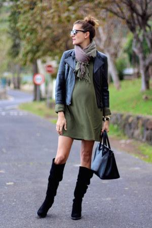 Zara boots - Sheinside dress - Zara jacket - zeroUV sunglasses