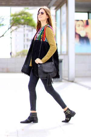Be Bohemian vest - Stradivarius boots - H&M sweater