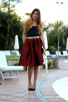 Choies skirt - Zara top - Zara belt - La Strada heels