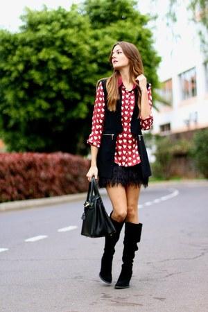 Zara boots - chicnova shirt - Mango skirt - Sheinside vest