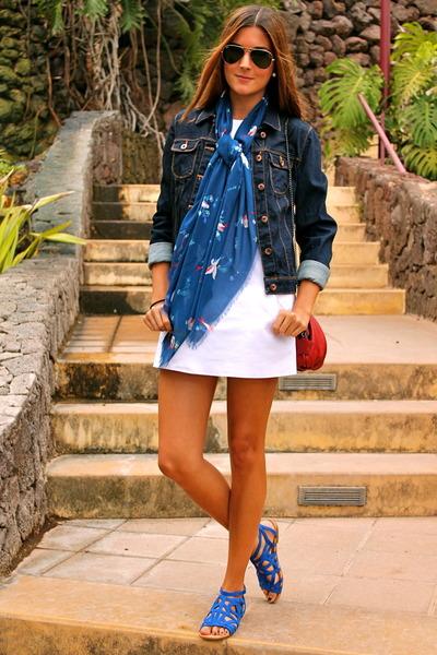 blue Zara sandals - white Zara dress - navy Zara jacket - blue natura scarf