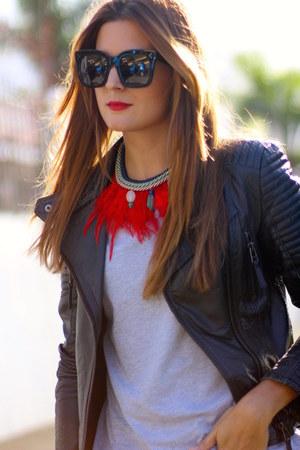 sara briganty necklace - Zara jeans - Zara jacket - Celine sunglasses