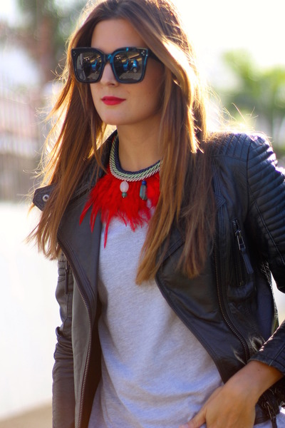 sara briganty necklace - Zara jeans - Zara jacket - Celine sunglasses