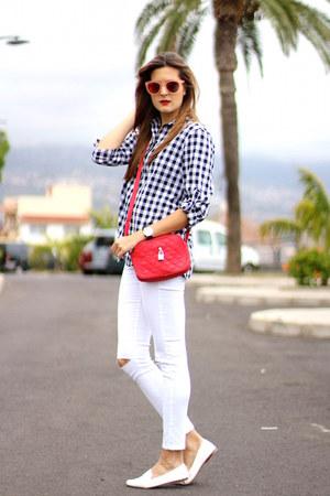 Sheinside shirt - Zara jeans - optica navarro sunglasses