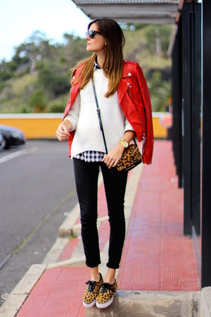 Sheinside shirt - Zara jacket - Mango sweater - armani bag - Stradivarius flats