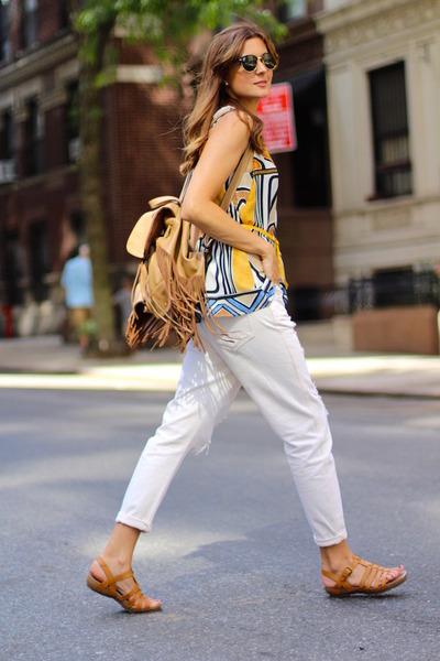Sheinside blouse - Mango jeans - Panama Jack sandals