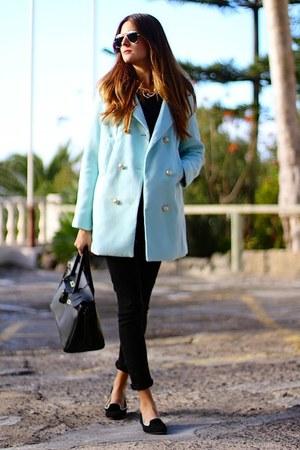 Sheinsidecom coat - Ray Ban sunglasses - suchn flats