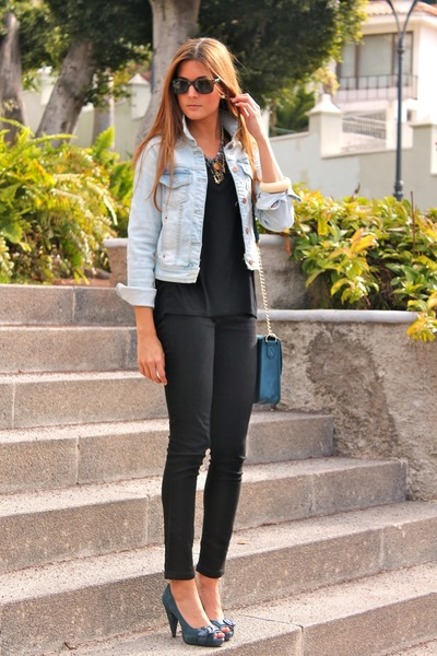 teal Miss Sixty heels - sky blue Zara jacket - black Bershka leggings