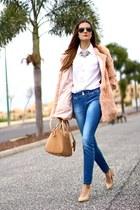 Sheinside coat - Stradivarius jeans - suiteblanco heels - Choies necklace