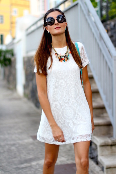 Bimba & Lola necklace - shein dress - Dolce & Gabbana sunglasses