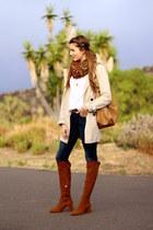 Zara boots - Stradivarius coat - Prada bag - Mango blouse