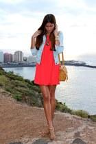 red Zara dress - bronze natura bag - aquamarine natura necklace