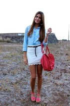 coral Drastik shoes - coral Zara bag - sky blue Stradivarius blouse