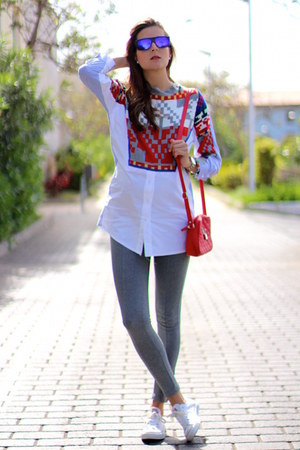 Sheinside blouse - Zara leggings - Converse sneakers