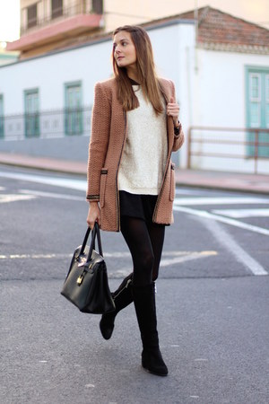 Zara boots - Sheinside coat - Mango sweater