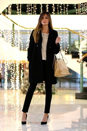 Zara coat - Bershka sweater - PERSUNMALL bag