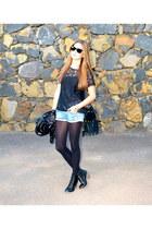 black Stradivarius boots - black Pimkie jacket - black Street Style bag