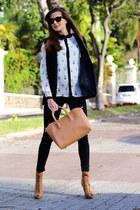 Choies shirt - Stradivarius boots - Choies vest - H&M panties