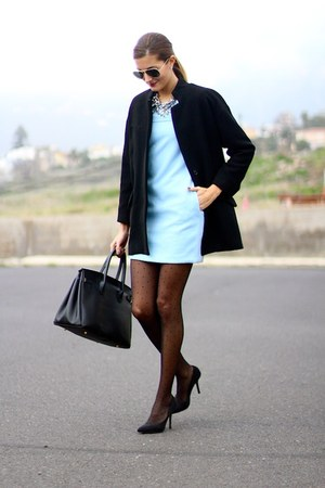 Zara coat - Sheinside dress - Zara tights - Zara necklace