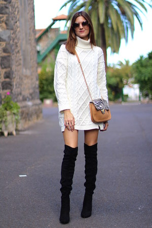 Mango boots - shein dress - Prada sunglasses
