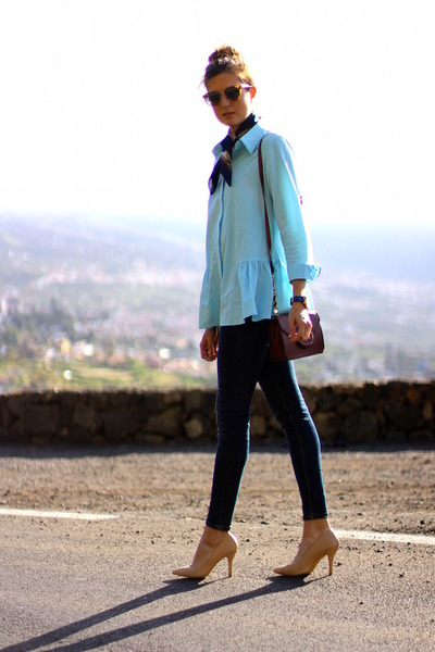 Sheinside blouse - Zara jeans - Oliver Peoples sunglasses - suiteblanco heels