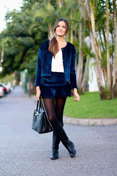 nowIStyle boots - Choies jacket - Choies skirt - Sheinside blouse