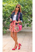 bubble gum Guess skirt - navy Zara jacket - hot pink BLANCO bag
