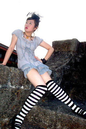 Black and White Socks socks - Gothic Lolita Dress dress - hairpiece hat