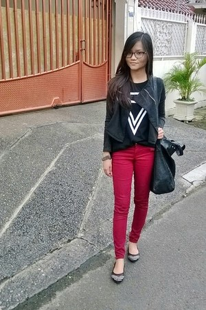 black ColorBox jacket - maroon Forever 21 jeans - black manggadua shirt