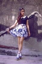 blue custom made skirt - silver Forever 21 bracelet - black NyLa top