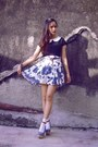 Black-nyla-top-blue-custom-made-skirt-silver-forever-21-bracelet