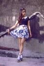Black-nyla-top-blue-custom-made-skirt-silver-forever-21-bracelet