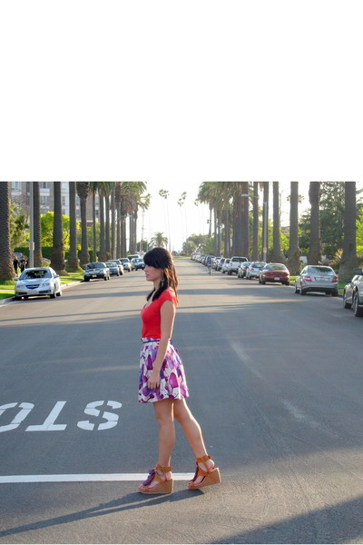 red LA Made shirt - purple Forever 21 skirt - brown mari janes shoes