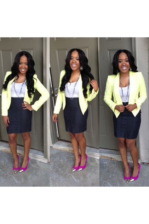 lime green Forever 21 blazer - hot pink Target shoes - navy Forever21 skirt