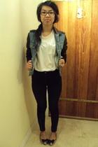 white Zara shirt - H&M Trend jeans - Silence & Noise jacket - DKNY