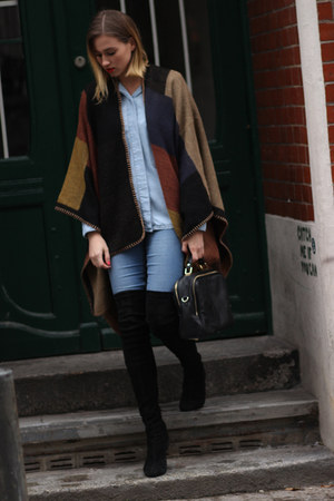 Topshop cape - black Zara boots - periwinkle asos jeans - light blue Zara blouse