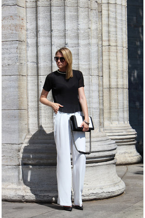 black H&M bag - black Prada sunglasses - white Mango pants - black Zara blouse