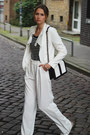 White-zara-blazer-black-h-m-bag-white-mango-pants-white-birkenstock-flats