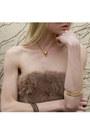 Gold-bird-skull-emilie-thomas-necklace-camel-brown-mini-sheinside-dress