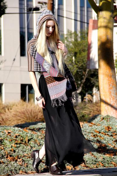 brown Wanted shoes - beige tank top Enza Costa shirt - black maxi romwe skirt