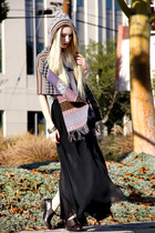 brown Wanted shoes - beige tank top Enza Costa shirt - black maxi romwe skirt