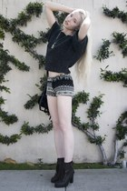 Leroy and Perry sweater - Kelsi Dagger boots - vintage shorts