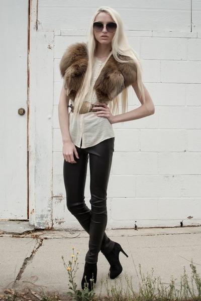 vintage scarf - Barneys Co op boots - dita sunglasses - vintage belt