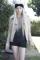 leather ever jacket - denim Levis shorts - raquel allegra t-shirt